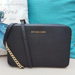 NWT Michael Kors LG EW Crossbody bag Black x-body